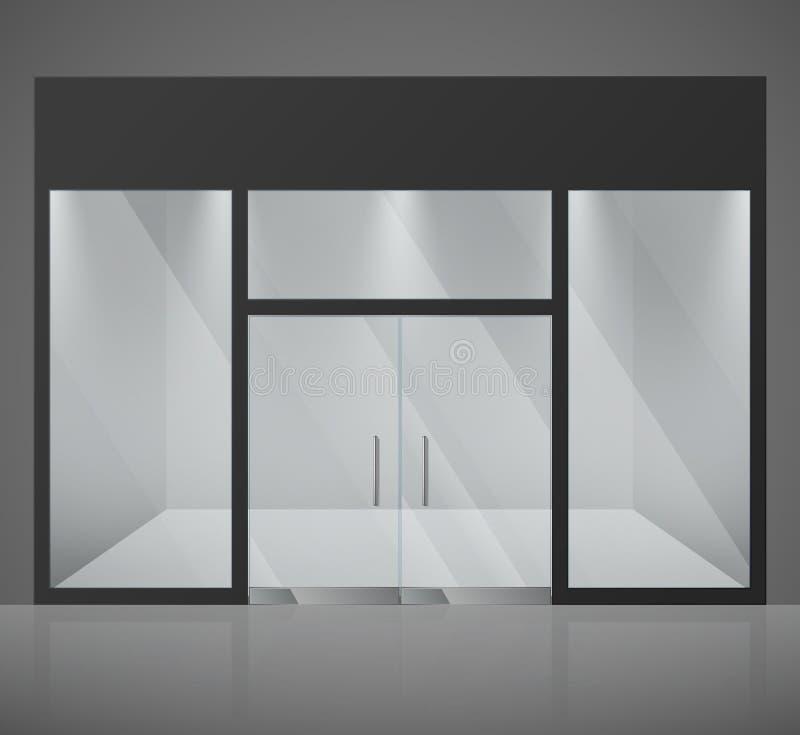 A loja vazia da forma, a loja com a janela de vidro grande e a entrada vector a ilustração ilustração do vetor