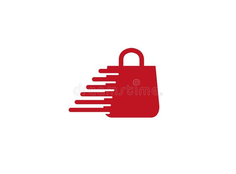 Loja vermelha do saco com mãos para o projeto do logotipo ilustração royalty free