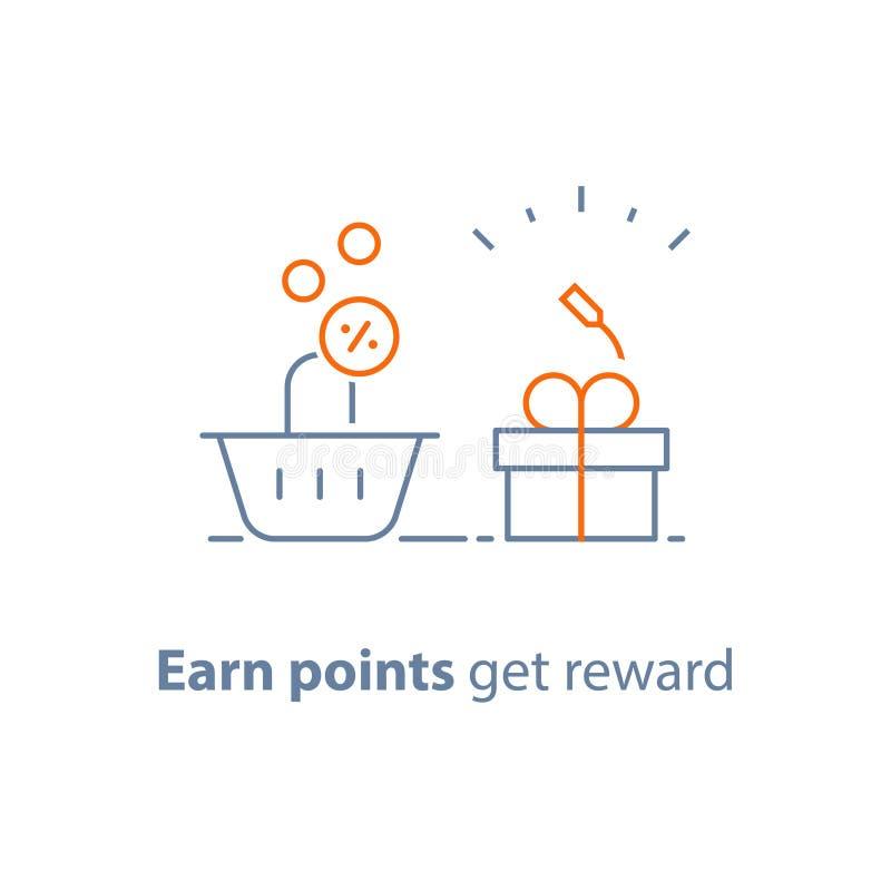 Lojalitetprogrammet, tjänar punkter och får belöning som marknadsför begrepp, den lilla gåvaasken och shoppingkorgen vektor illustrationer