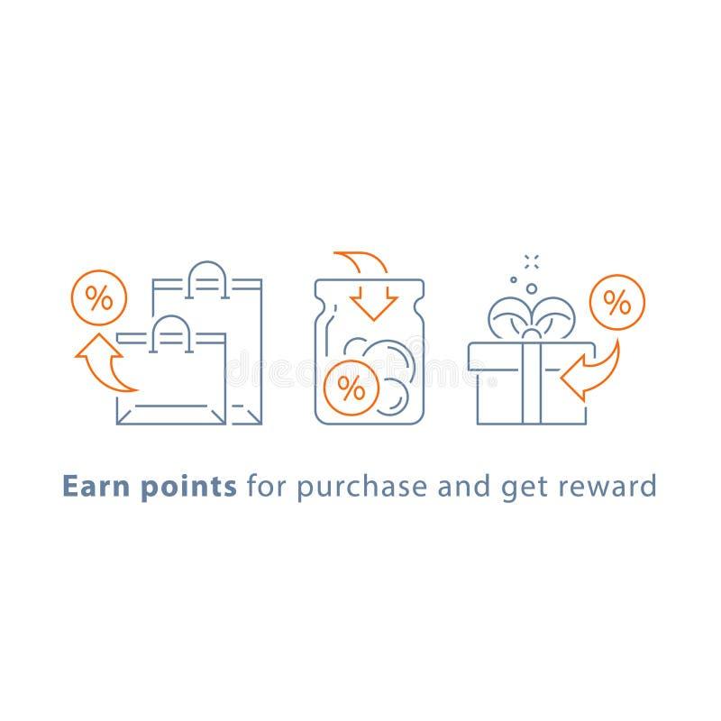 Lojalność program, zarabia punkty i dostaje nagrodę, marketingowy pojęcie royalty ilustracja