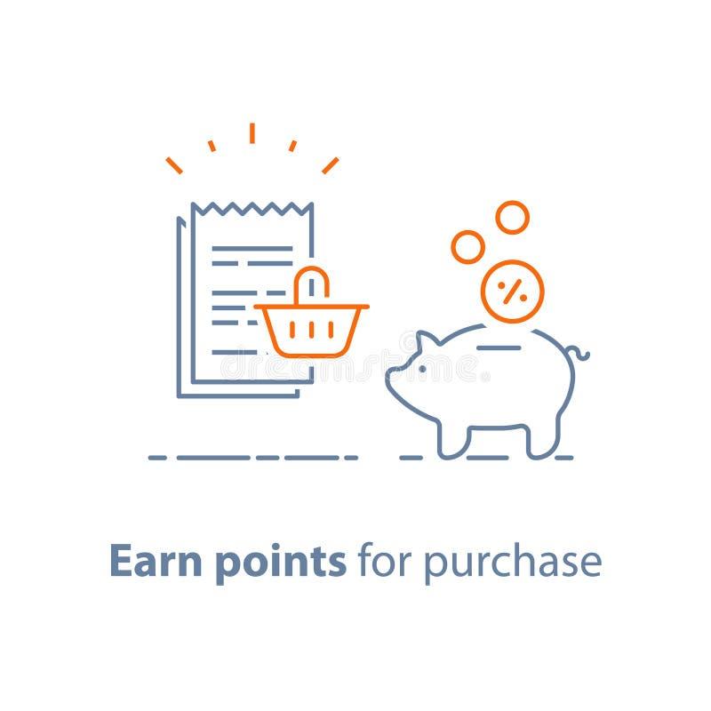 Lojalność program, zarabia punkty i dostaje nagrodę, marketingowy pojęcie, prosiątko bank z monetami do ślizgania z zakupy koszem ilustracji