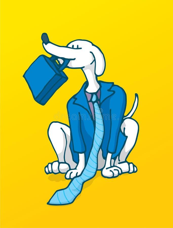Lojalny biznesowy pracownik pracuje jak pies w kostiumu ilustracji
