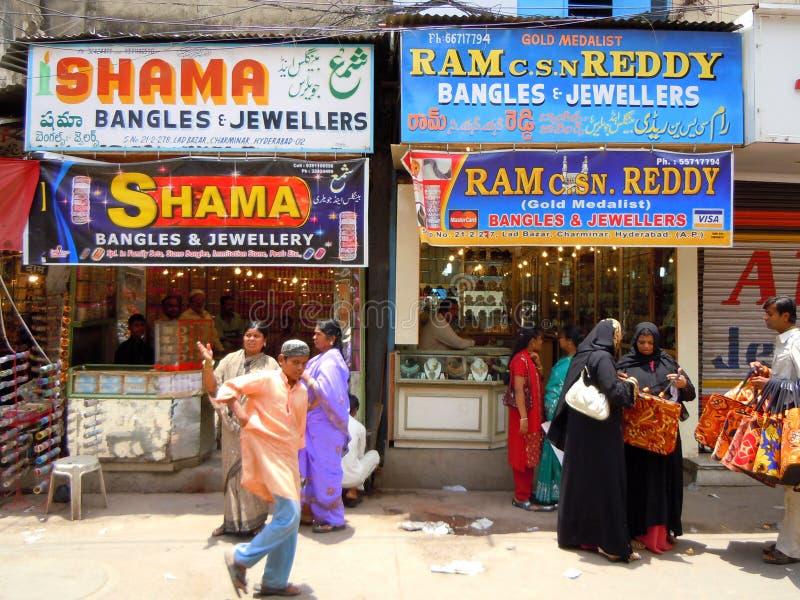 Lojas da pulseira e de joia na Índia fotografia de stock royalty free