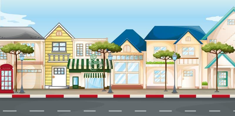 Lojas e lojas ao longo da rua ilustração stock
