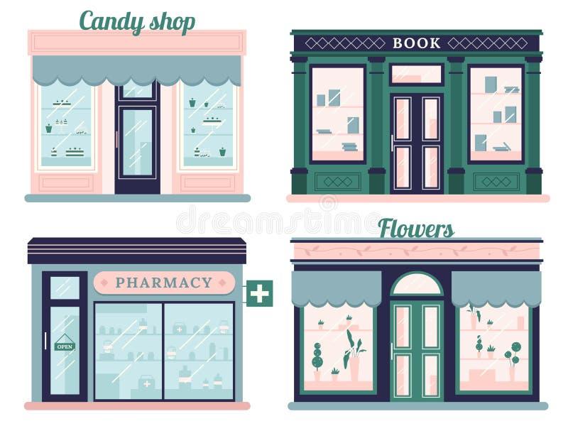 Lojas modernas ajustadas Fachada da loja dos doces e livrarias urbanas Farmácia varejo do Local e boutique das flores outdoor ilustração do vetor