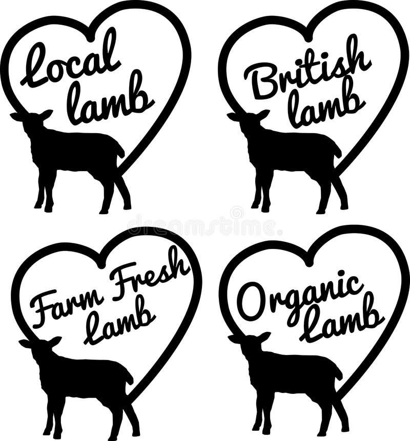Lokaal, Brits, landbouwbedrijf vers en organisch lam vector illustratie