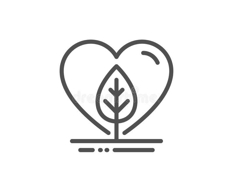Lokaal gekweekt lijnpictogram Organisch getest teken Eerlijke handel Vector vector illustratie