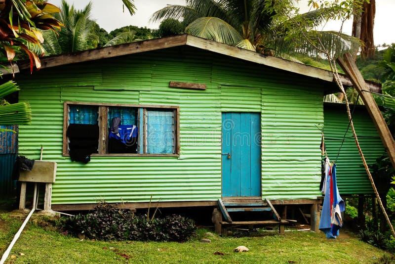 Lokaal huis, het eiland van Vanua Levu, Fiji stock foto's