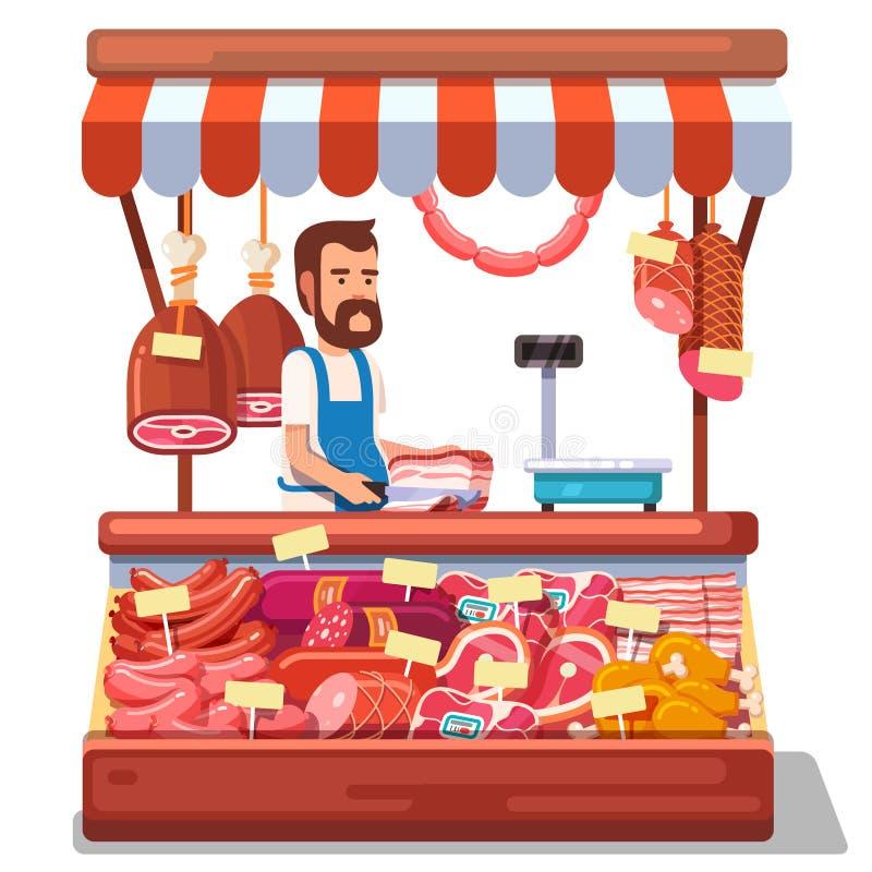 Lokaal marktlandbouwer het verkopen vers vlees vector illustratie