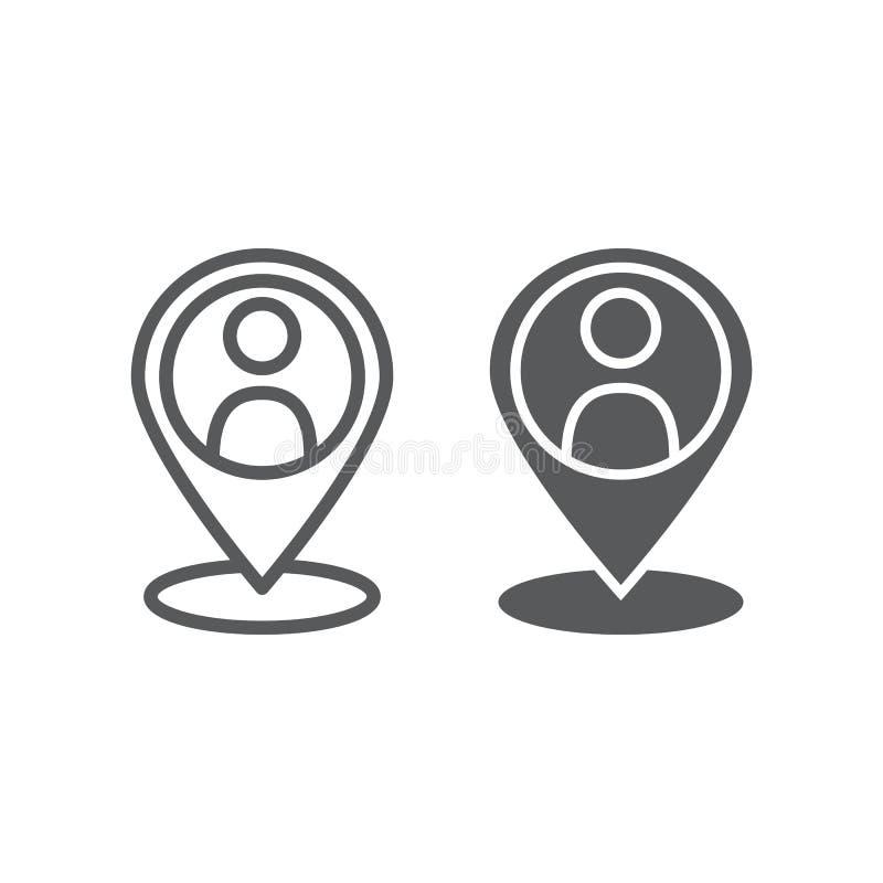 Lokaal seolijn en glyph pictogram, optimalisering en plaats, speldteken, vectorafbeeldingen, een lineair patroon stock illustratie
