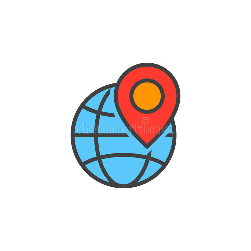 Lokaal seosymbool Bol en de lijnpictogram van de plaatsteller, gevulde ou vector illustratie