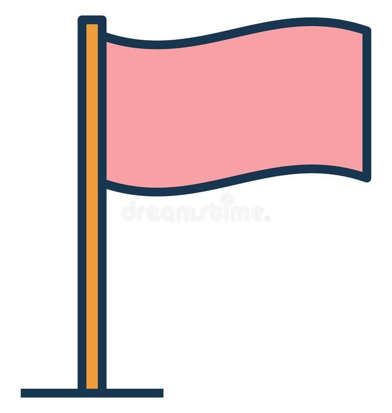 Lokaci flaga, zaznacza Odosobnioną Wektorową ikonę może być łatwo redaguje i modyfikuje ilustracji
