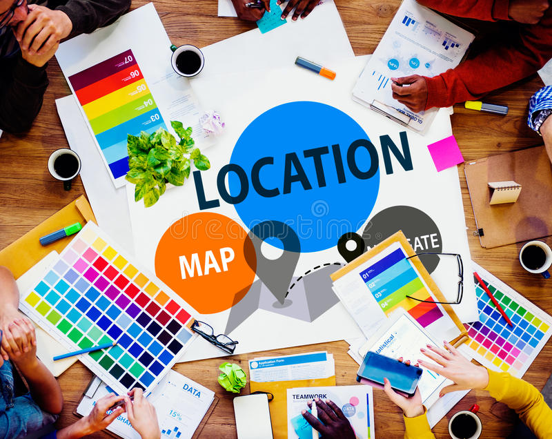 Lokaci miejsca przeznaczenia nawigaci mapy kierunku pojęcie fotografia royalty free