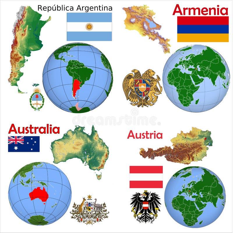 Lokacja Argentyna, Armenia, Australia, Austria royalty ilustracja