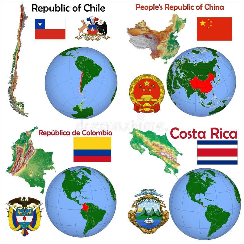 Lokacja Chiny, Chile, Kolumbia, Costa Rica royalty ilustracja