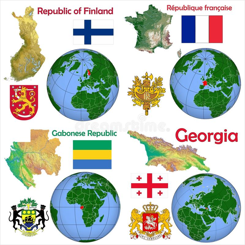 Lokacja Finlandia, Francja, Gabon, Gruzja ilustracja wektor