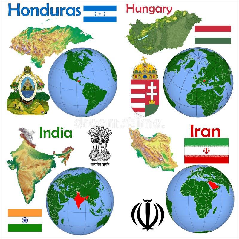 Lokacja Honduras, Węgry, India, Iran ilustracja wektor