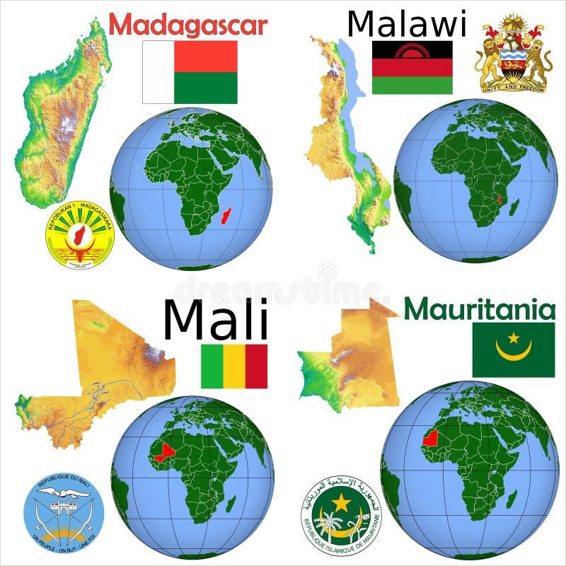 Lokacja Madagascar, Malawi, Mali, Mauretania royalty ilustracja