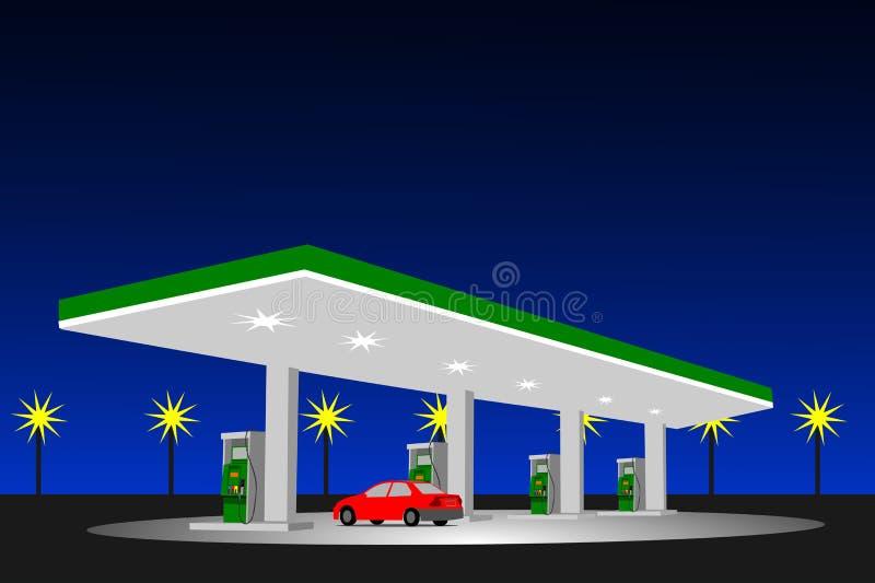 Lokacja nafciana pompa przy noc olejem Tam jest niebieskim niebem jako tło ilustracja wektor