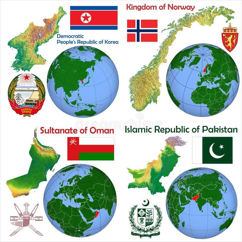 Lokacja Północny Korea, Norwegia, Oman, Pakistan ilustracja wektor