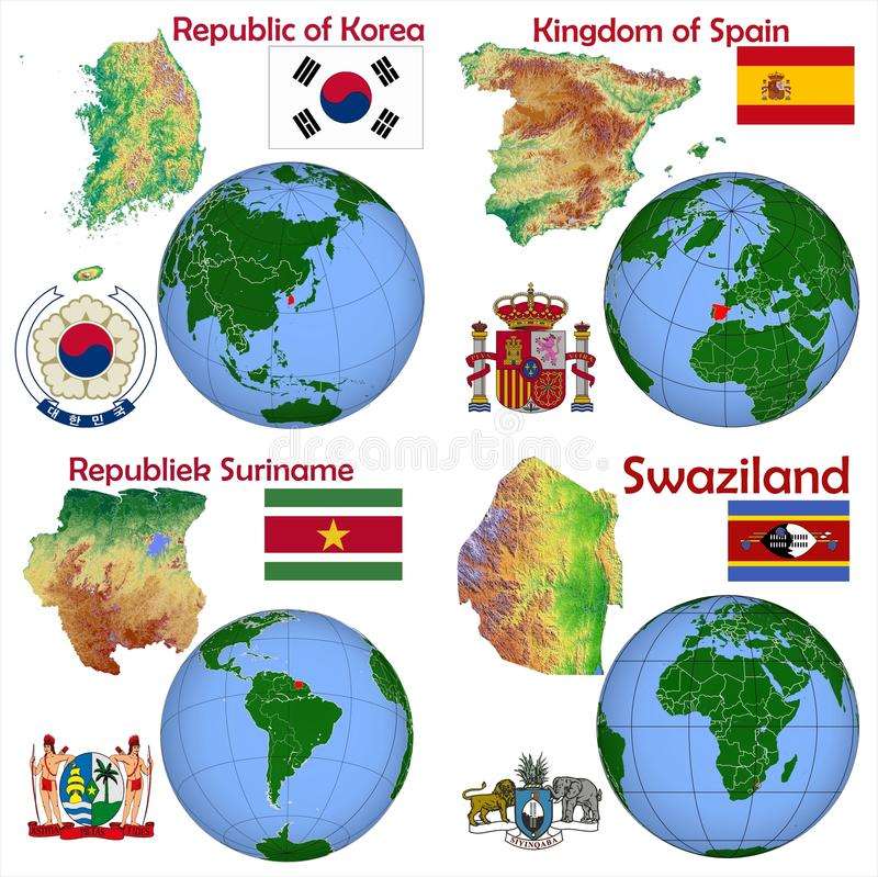 Lokacja Południowy Korea, Hiszpania, Suriname, Swaziland royalty ilustracja