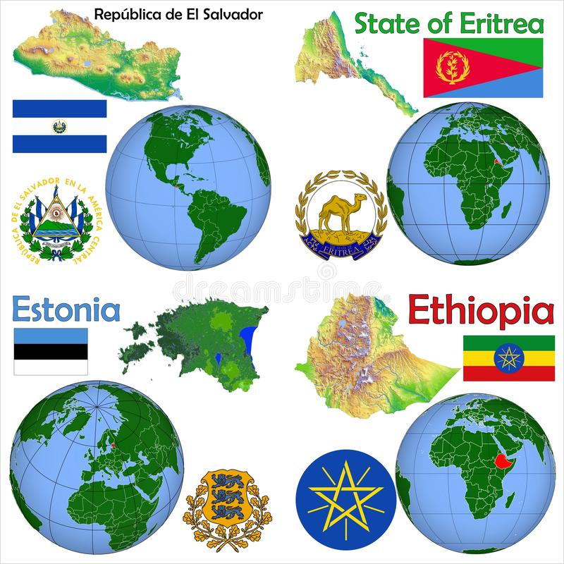 Lokacja Salwador, Erytrea, Estonia, Etiopia royalty ilustracja