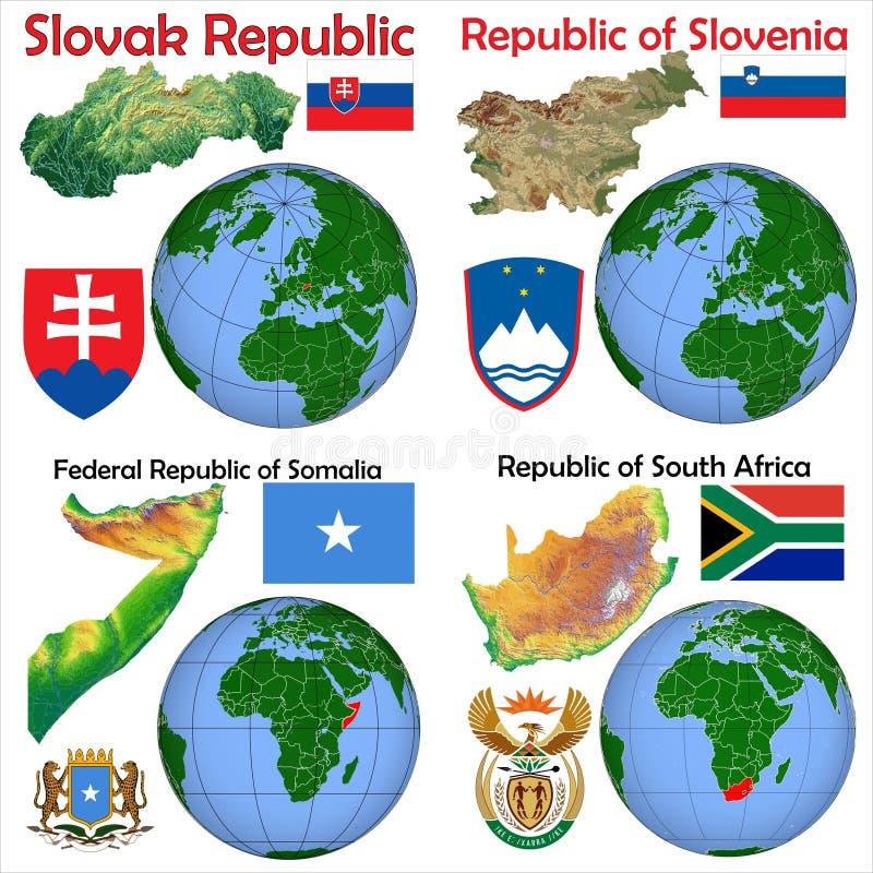 Lokacja Sistani, Slovenia, Somalia, Południowa Afryka ilustracji