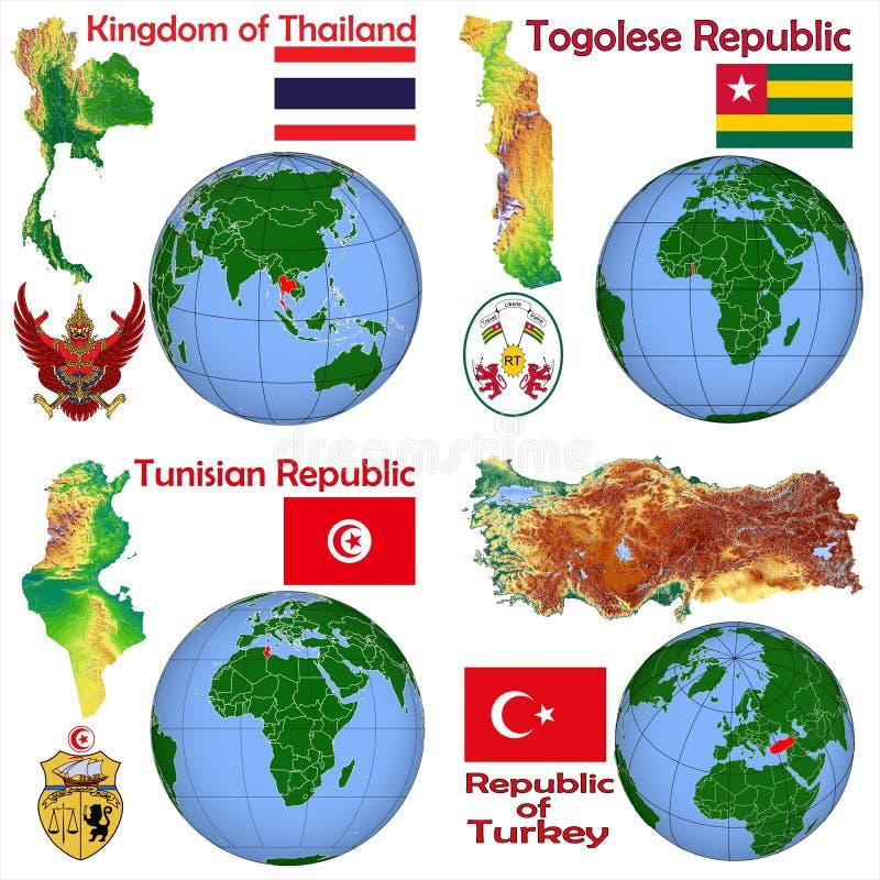 Lokacja Tajlandia, Togo, Tunezja, Turcja ilustracja wektor