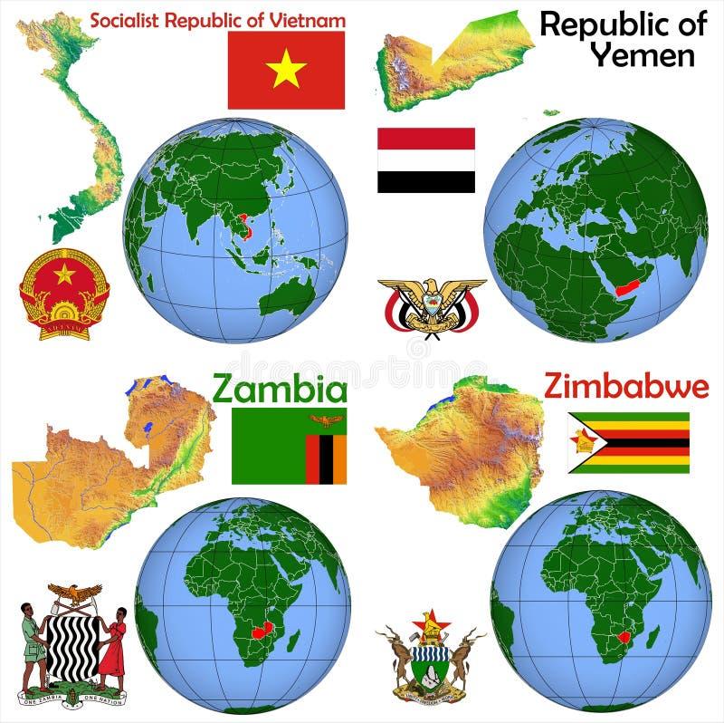 Lokacja Wietnam, Jemen, zambiowie, Zimbabwe ilustracja wektor