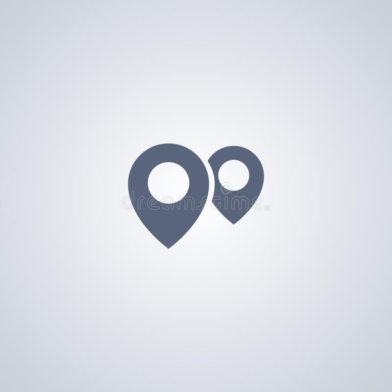 Lokacje, pointer, wektorowa najlepszy płaska ikona royalty ilustracja