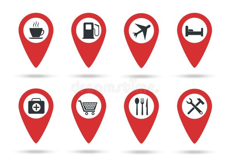 Lokacji ikony Kolekcja mapa markiery z usługowymi ocenami również zwrócić corel ilustracji wektora Czerwone płaskie lokacje ilustracja wektor