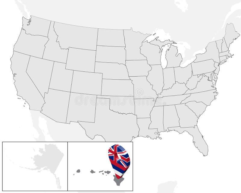 Lokacji mapa Hawaje na mapa usa ameryki stany zjednoczone 3d geolocation znak jak flaga stan Hawaje Wysokiej jakości mapa Hawa ilustracji