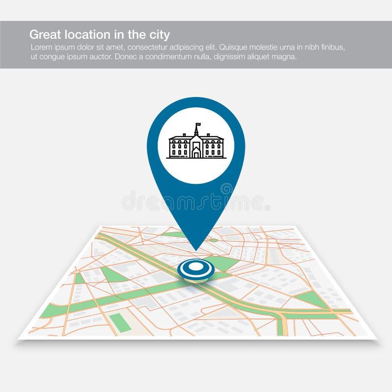 Lokacji mapa szkoła na miasto mapie royalty ilustracja