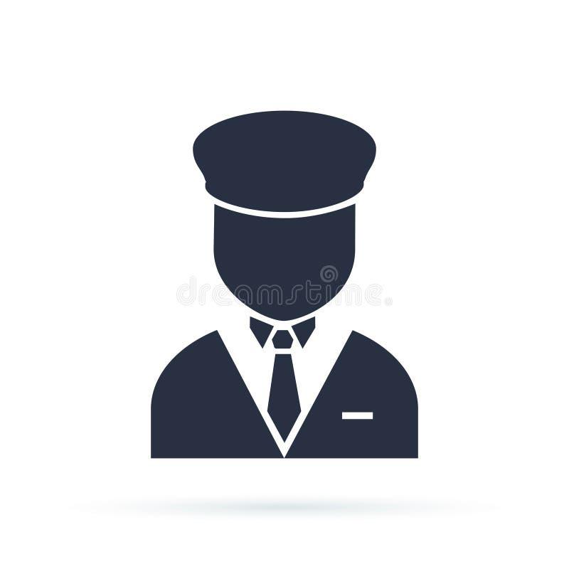 Lokaj ikona, wypełniający mieszkanie znak, stały piktogram odizolowywający na bielu Concierge symbol, logo ilustracja ilustracja wektor