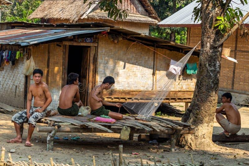 Lokal bygemenskap Laos arkivfoto
