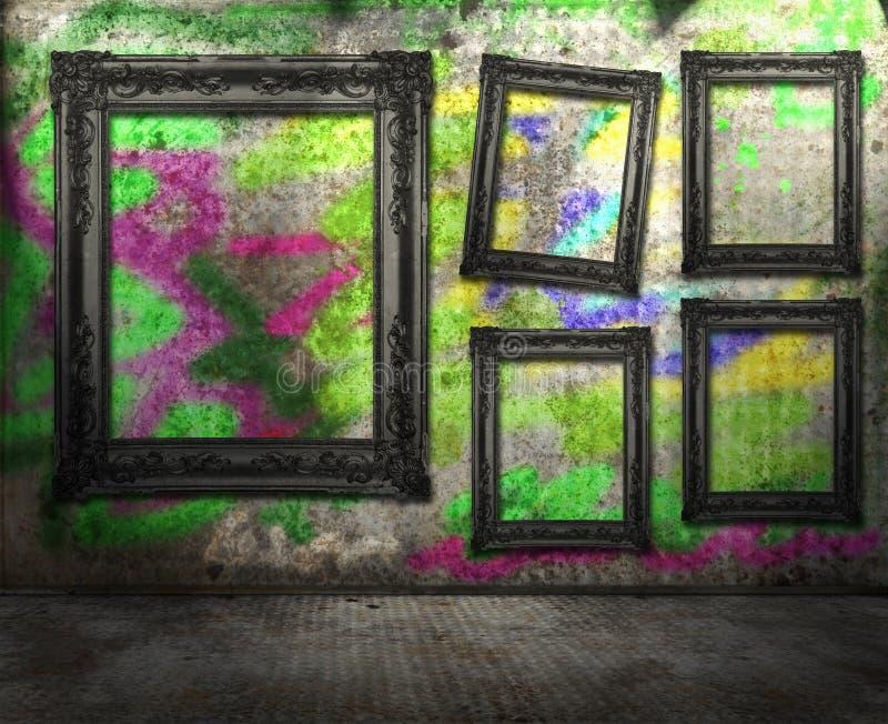 lokal för grafittigrungeinterior royaltyfri bild