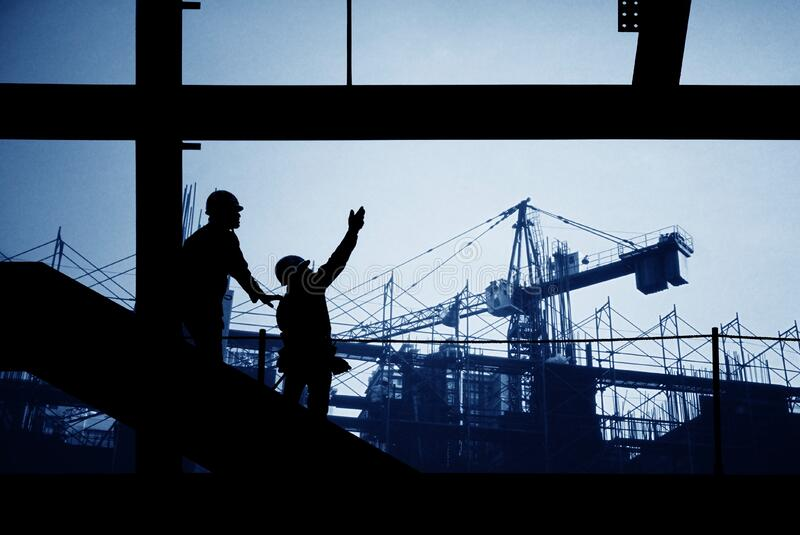 lokal för silhouette för byggnadskonstruktion ytter royaltyfri bild
