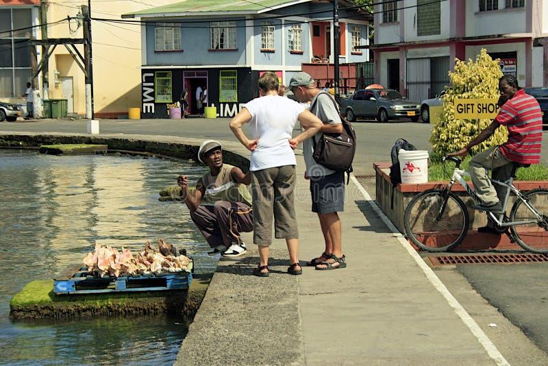 Lokal handel på st George-Grenada som är karibisk arkivbild
