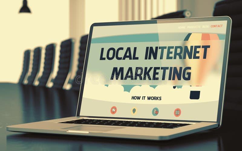 Lokal internetmarknadsföring på bärbara datorn i konferensrum 3d arkivbilder