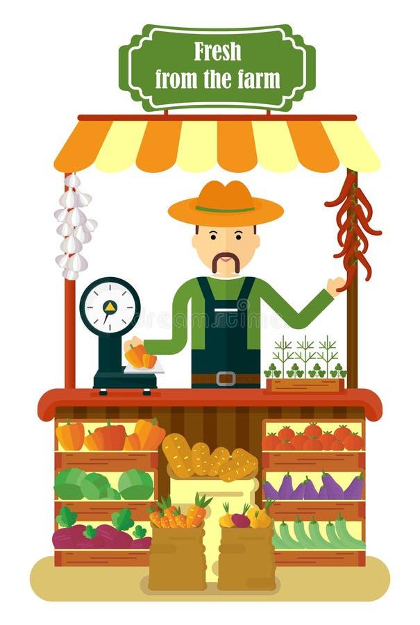 Lokal jordbruksprodukter för grönsaker för sälja för marknadsbonde stock illustrationer