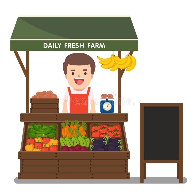 Lokal jordbruksprodukter för grönsaker för sälja för marknadsbonde royaltyfri illustrationer
