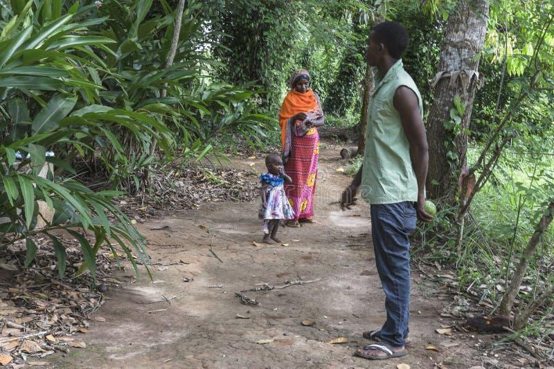 Lokal-Leute im Dschungel in Sansibar stockfotografie