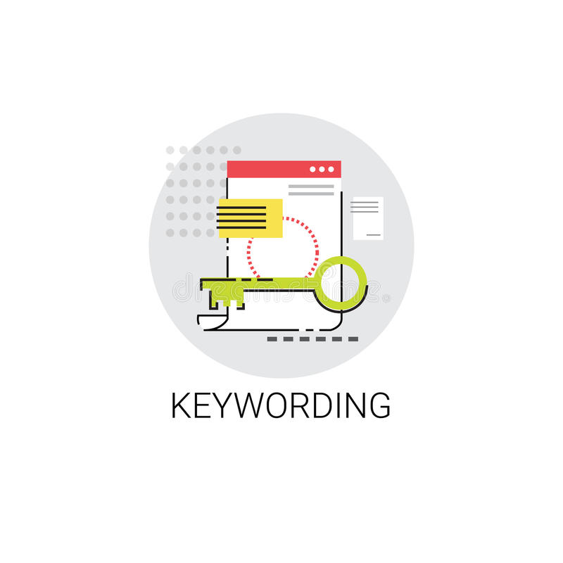 Lokal Seo Keywording Search Icon stock illustrationer
