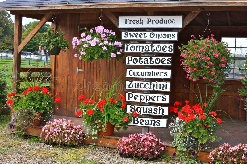 Lokal SkyltfönsterStand För Ny Produce Royaltyfria Bilder