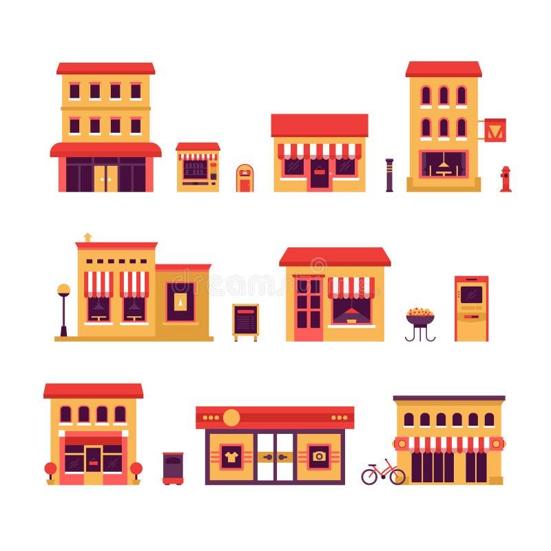Lokala affärsbyggnader stock illustrationer