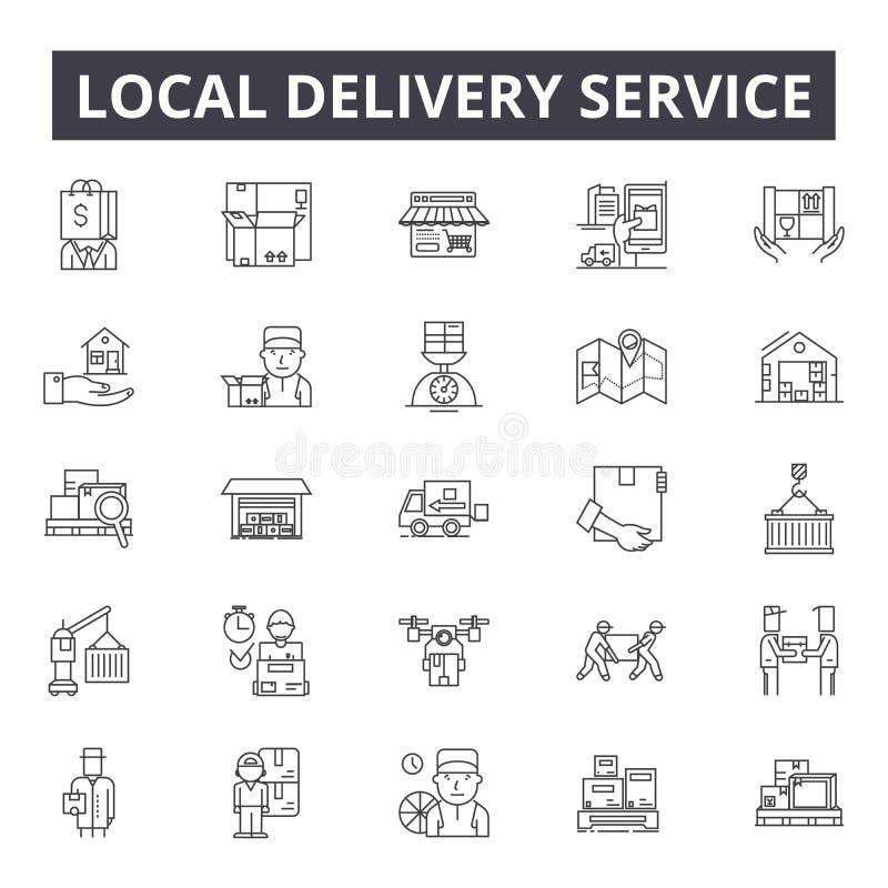 Lokale de lijnpictogrammen van de leveringsdienst, tekens, vectorreeks, het concept van de overzichtsillustratie vector illustratie