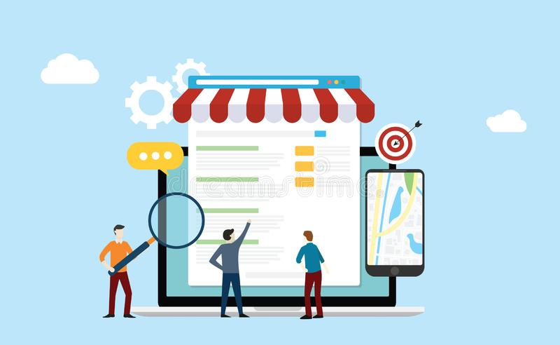 Lokale de strategie van de bedrijfs seomarkt zoekmachineoptimalisering met teammensen die aan voorzijde van opslag en kaarten onl royalty-vrije illustratie