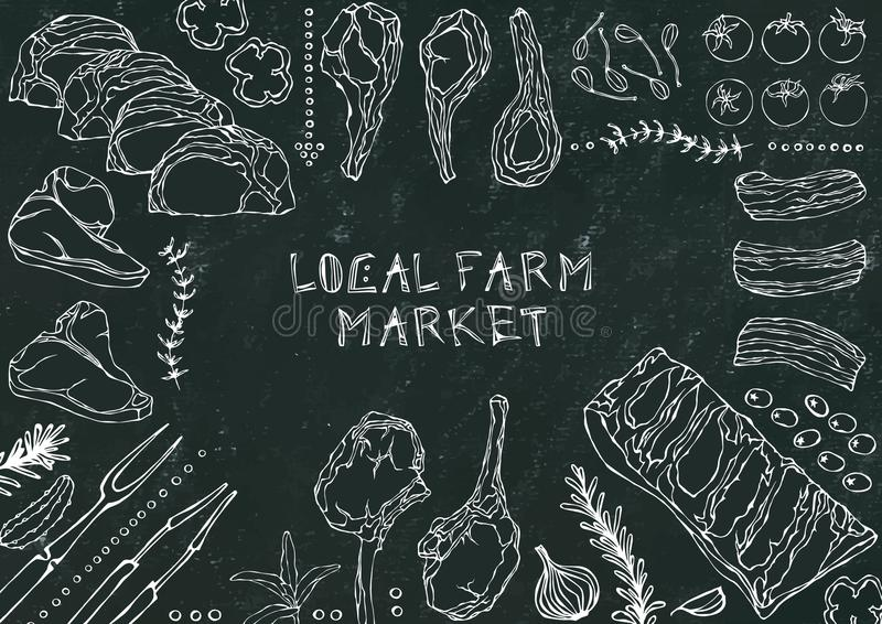Lokale Landbouwbedrijfmarkt Vleesbesnoeiingen - Rundvlees, Varkensvlees, Lam, Lapje vlees, Achterdeel Zonder botten, Ribbenbraads stock illustratie