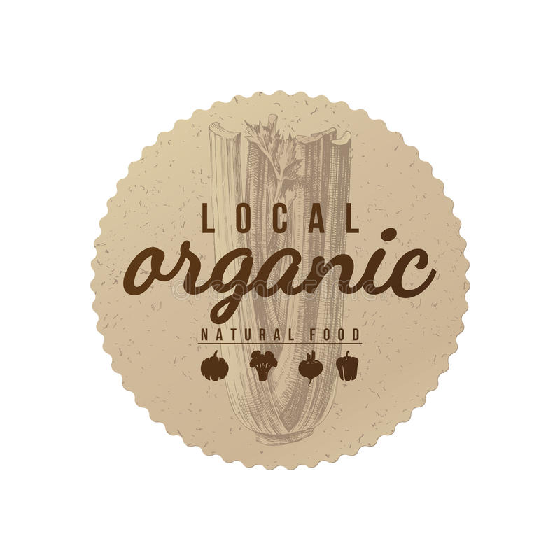 Lokale organische natuurvoeding om document embleem vector illustratie