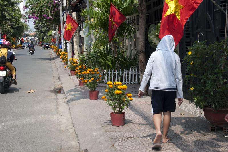 Lokale straat die met goudsbloembloempotten en Vietnamese vlaggen voor maan nieuwe het jaarvieringen van Tet wordt verfraaid stock fotografie